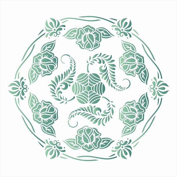 Stencil Simples 30,5 x 30,5 Mandala Cipó - Opa 2637