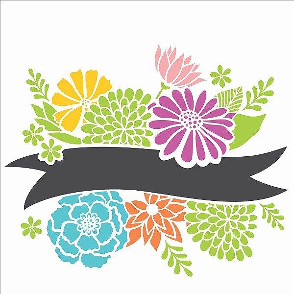 Stencil Simples 30,5 x 30,5 Fita Com Flores - Opa 2469