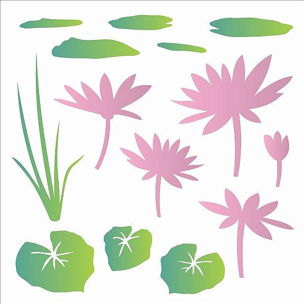 Stencil Simples 30,5 x 30,5 Flor De Lotus  - Opa 2090