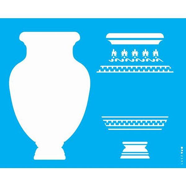 Stencil 20X25 Simples Vaso Estampado 2 - Opa 2591