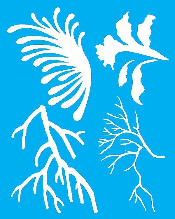 Stencil 20X25 Simples Corais - Opa 2055