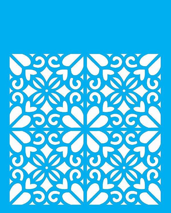 Stencil 20X25 Simples Estampa Floral Coração - Opa 2057