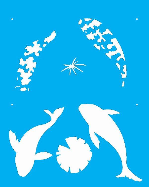 Stencil 20X25 Simples Peixes 1 - Opa 2077
