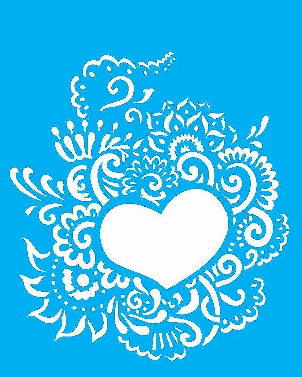 Stencil 20X25 Simples Coração Ornamento - Opa 2265