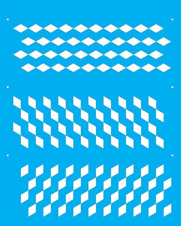 Stencil 20X25 Simples Estamparia Quadriculado 1  - Opa 2268
