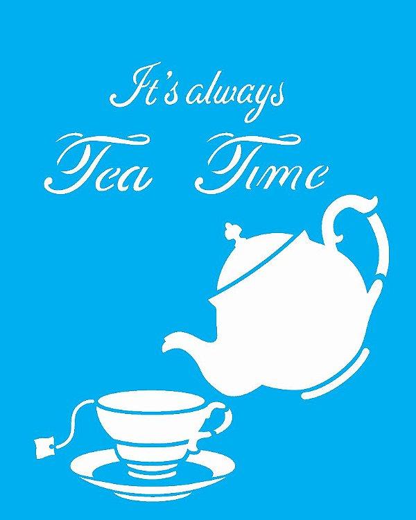 Stencil 20X25 Simples Tea Time - Opa 2289