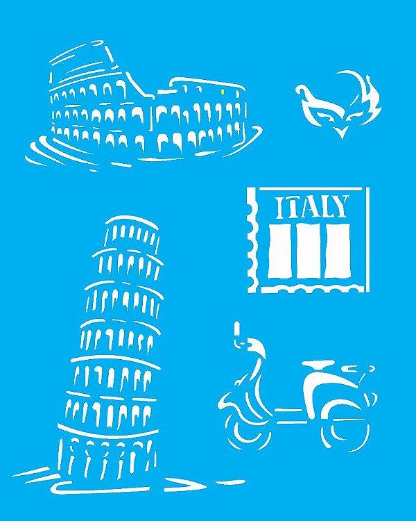 Stencil 20X25 Simples Países Itália - Opa 1329