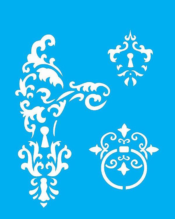 Stencil 20X25 Simples Fechadura - Opa 1774