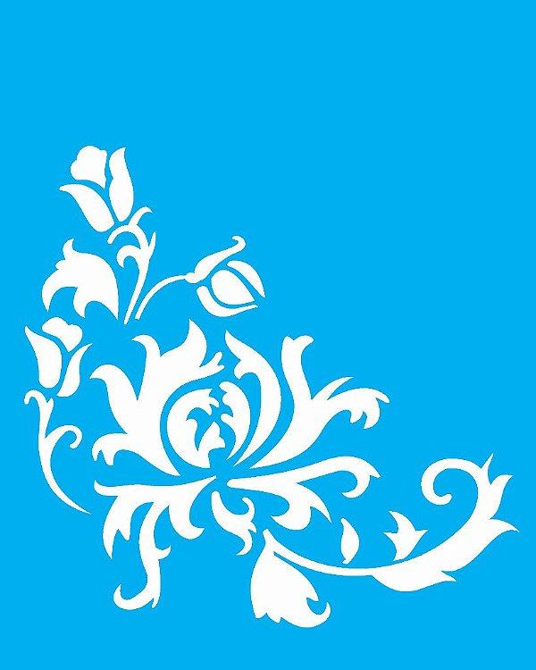 Stencil 20X25 Simples Cantoneira Crisantemo  - Opa 1766