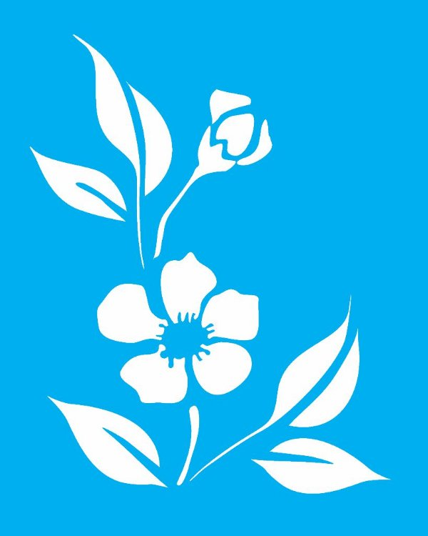 Stencil 20X25 Simples Flor Peônia Chinesa  - Opa 1021