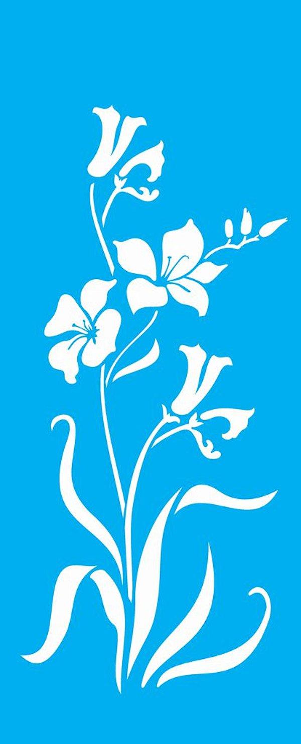 Stencil 17X42 Simples – Flores Hibiscos - OPA1228