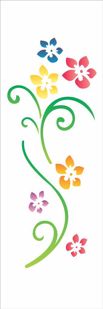 Stencil OPA Simples 10 x 30 cm 344 Flores Primavera