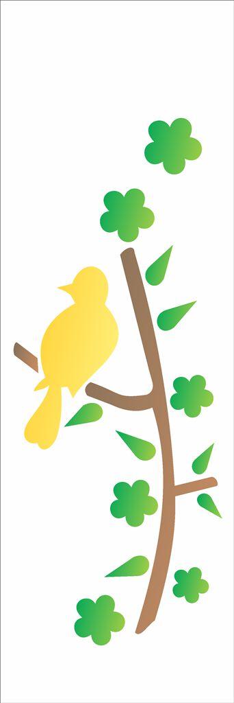 Stencil OPA Simples 10 x 30 cm 484 Pássaro