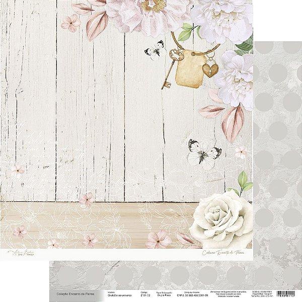 Papel Para Scrap Encanto de Flores - Gratidão ao universo - Scrap By Antonio 2101-02