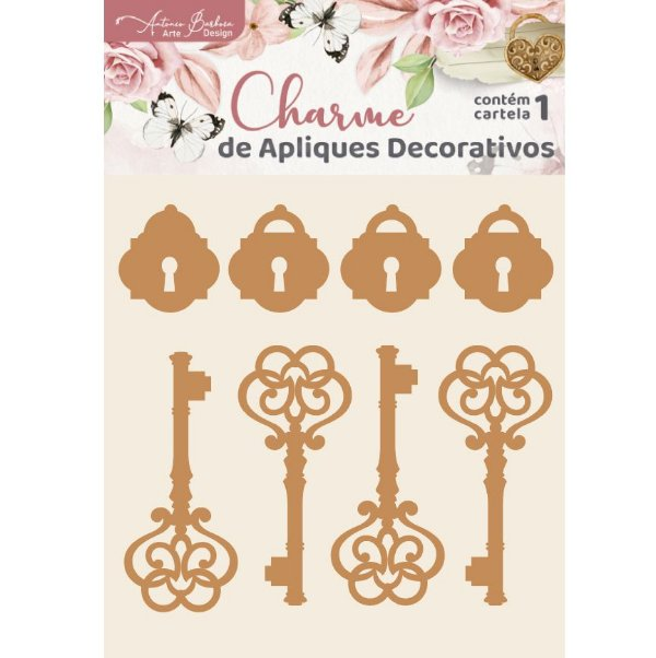 CHARME DE APLIQUES DECORATIVOS - MDF - CHAVES E CADEADOS - 2101-37