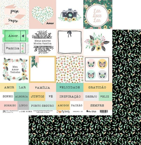 Folha para Scrapbook - My Memories Crafts - Coleção My Family II MMCMF2-04