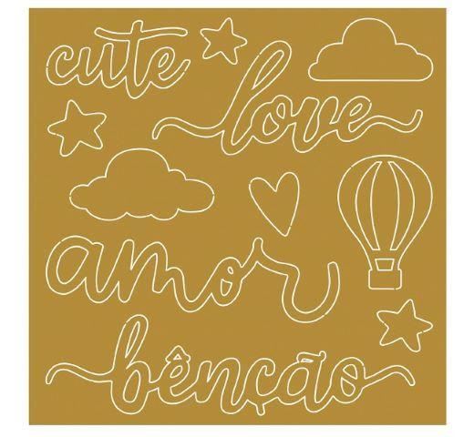 Aplique Acrílico - APA-005 NUVENS, BALÃO, CUTE, LOVE, AMOR