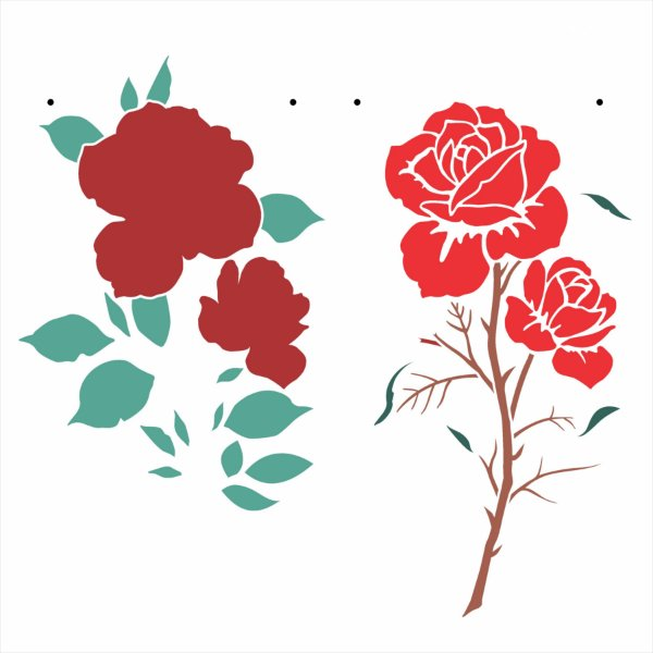 Stencil 20x25 Flor Rosas II - OPA 3057