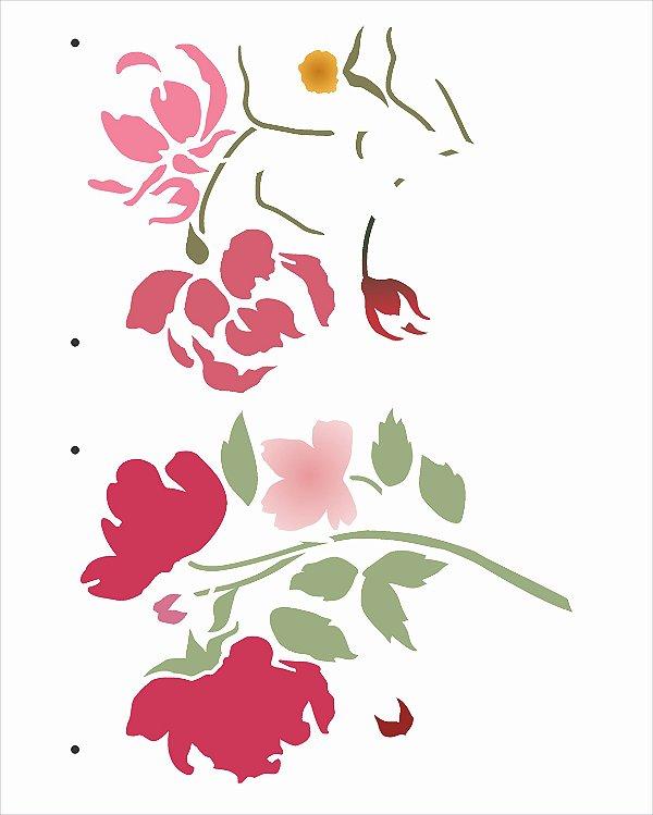 Stencil 20x25 Flor Aquarelada - OPA 3034
