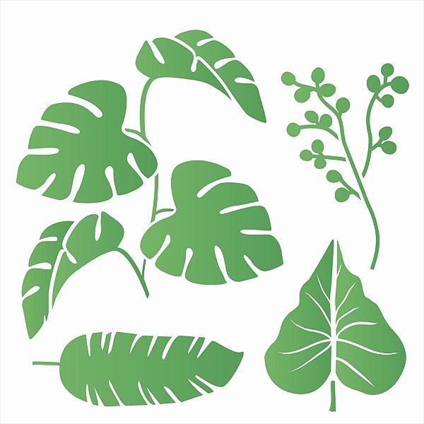Stencil 30,5X30,5 –Plantas Tropicais - OPA 2598