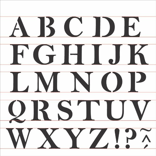 Stencil 30,5X30,5 – Alfabeto Reto Maiúsculo - OPA 2516