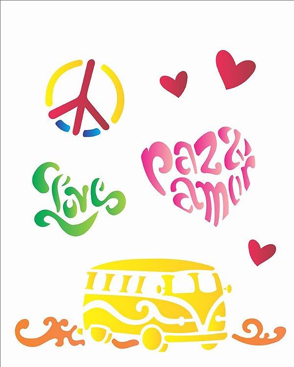 Stencil 20x25 Paz e Amor - OPA 1275