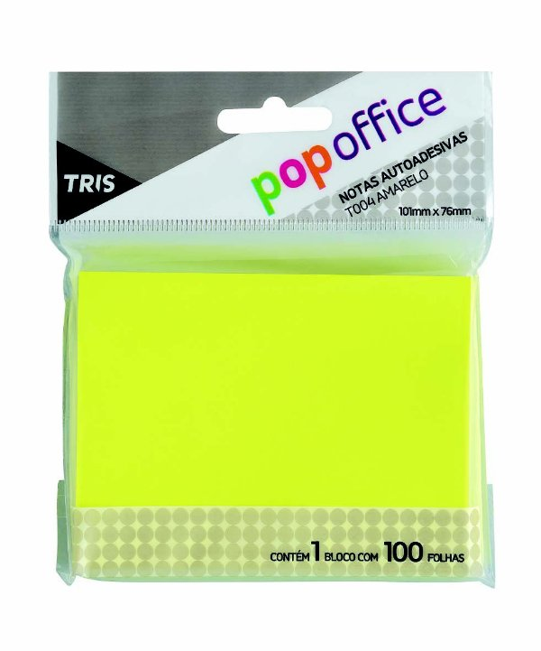 Bloco Com 100 Post It Amarelo Notas Autoadesivas 101x76 mm