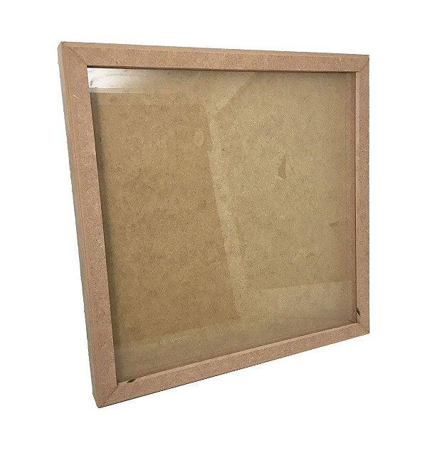 Quadro MDF Com Vidro Liso 33 x 33 cm Para Scrapbook