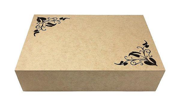 Caixa MDF Detalhe Floral 8 Divisórias Laser - G