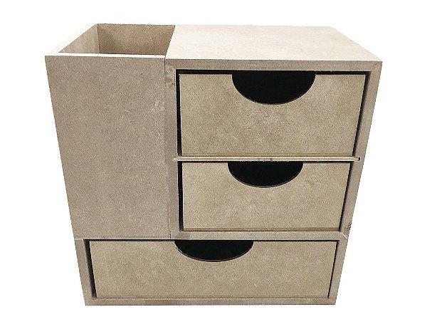 Organizador Porta Treco MDF Com 3 Gavetas 20x12,5x19 cm