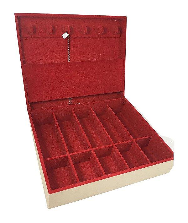 Porta Colar, Relógio e ÓculosMDF Dobradiça Flocada Vermelho