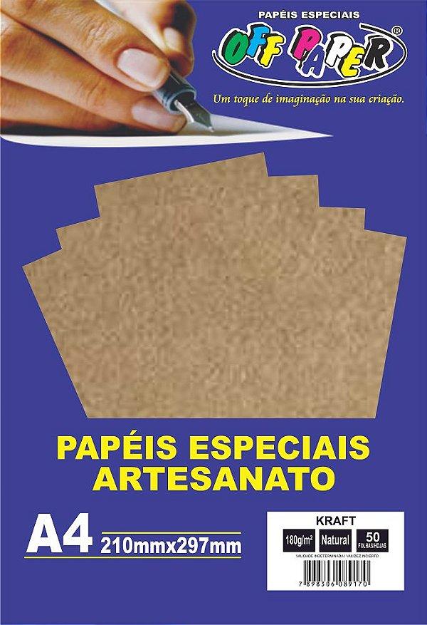 Papel Kraft Natural Off Paper 180g/m² Com 50 Folhas A4
