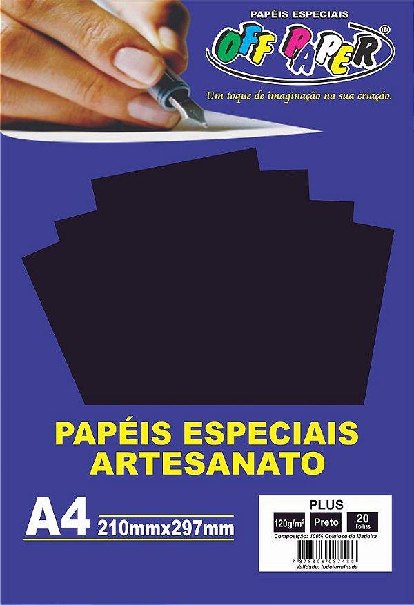 Papel Plus Preto 120g Com 20 Folhas Off Paper
