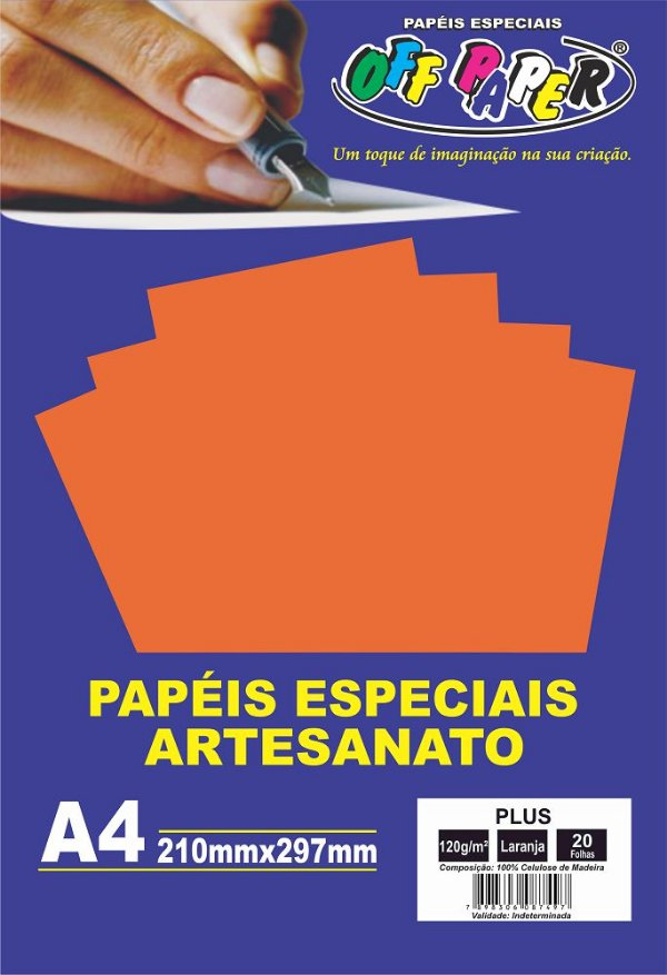 Papel Plus Laranja 120g Com 20 Folhas Off Paper