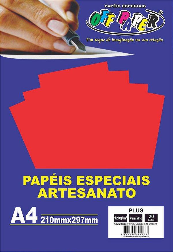 Papel Plus Vermelho 120g Com 20 Folhas Off Paper