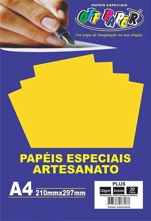 Papel Plus Amarelo 120g Com 20 Folhas Off Paper