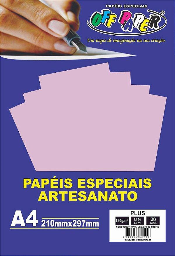 Papel Plus Lilás Luminoso 120g Com 20 Folhas Off Paper