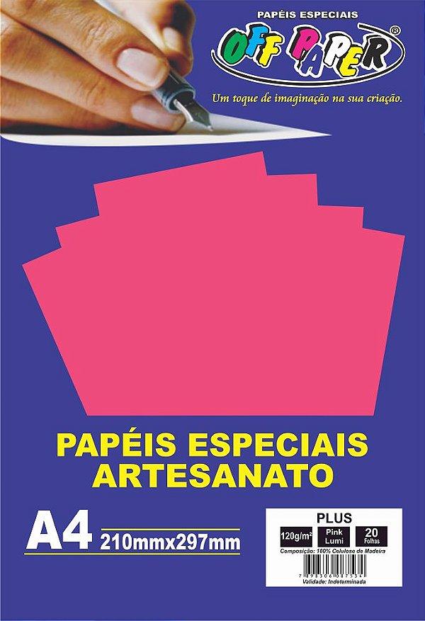 Papel Plus Pink Luminoso 120g Com 20 Folhas Off Paper