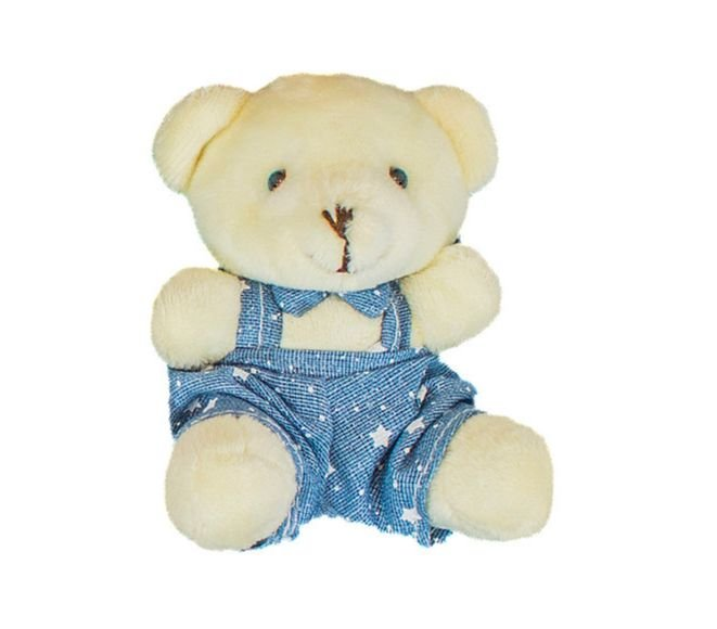 Ursinho Menino Com Macacão Azul Estrelinha Urso Pelúcia