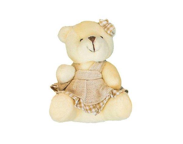 Ursinho Menina Com Vestido Xadrez Urso Pelúcia