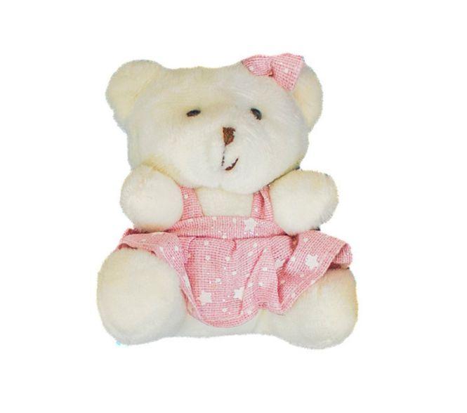 Ursinho Menina Com Vestido Rosa Estrelinha Urso Pelúcia