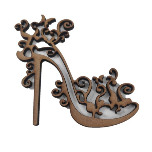 Aplique Laser MDF - Sapato Feminino Arabesco - 8cm