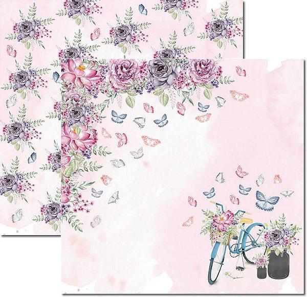 Papel Para Scrapbook Dupla Face 30,5x30,5 cm Arte Fácil - SC-530 - Butterfly 2