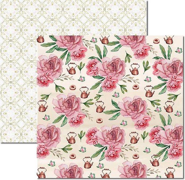 Papel Para Scrapbook Dupla Face 30,5x30,5 cm Arte Fácil - SC-526 - Chá 3