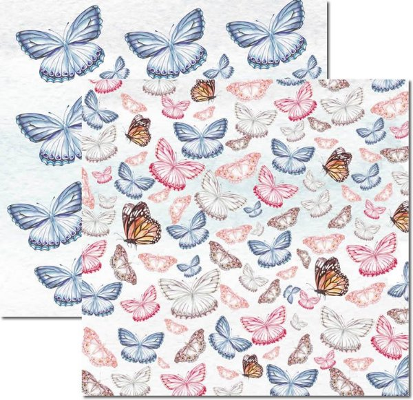 Papel Para Scrapbook Dupla Face 30,5x30,5 cm Arte Fácil - SC-529 - Butterfly 1