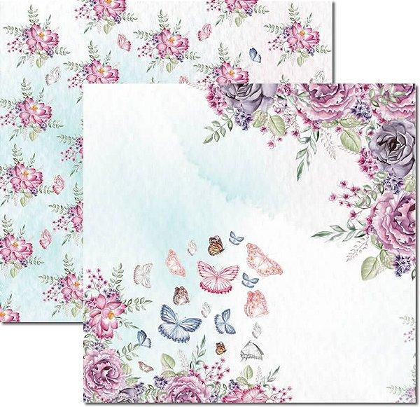 Papel Para Scrapbook Dupla Face 30,5x30,5 cm Arte Fácil - SC-531 - Butterfly 3