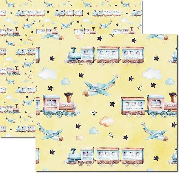 Papel Para Scrapbook Dupla Face 30,5x30,5 cm Arte Fácil - SC-495 - My Baby Boy 3