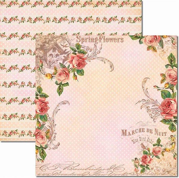Papel Para Scrapbook Dupla Face 30,5x30,5 cm Arte Fácil - SC-445 - Primavera 10