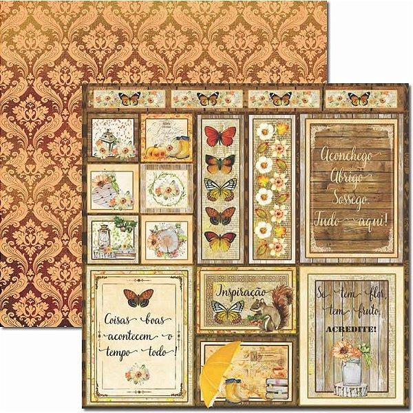 Papel Para Scrapbook Dupla Face 30,5x30,5 cm Arte Fácil - SC-440 - Outono Tags