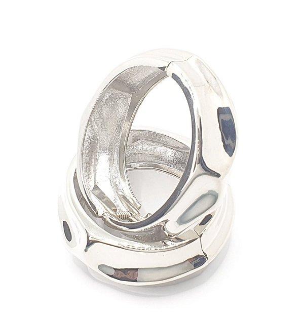 Pulseira Bracelete Trabalhado Acabamento Brilhante Oval